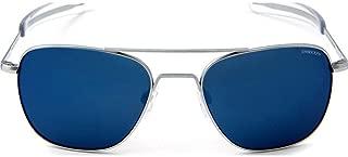 Aviator Matte Chrome Sunglasses   Blue Sky PC Bayonet - 55mm