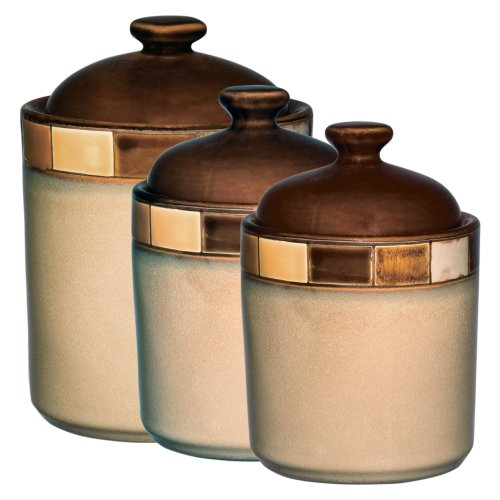 Gibson Elite Casa Azul Reactive Glaze Stoneware Dinnerware, 3-Piece Cannister Set, Beige/Brown Georgia