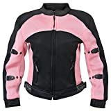 Xelement CF508 Women's 'Guardian' Black and Pink Mesh Jacket with X-Armor Protection - Large