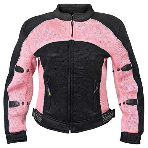 Xelement CF508 Women's 'Guardian' Black and Pink Mesh Jacket with X-Armor Protection - 3X-Large