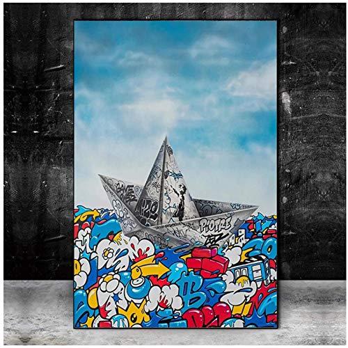 Graffiti papel Origami barco vela arte lienzo pintura pared imagen sala de estar decoración del hogar cartel 24x36 pulgadas sin marco