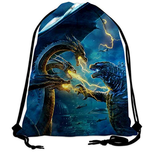 God-Zilla Dragon War Unisex Gym Drawstring Bags Day Sackpack Sports Bag Backpack for Outdoor Hiking Swimming Fitness