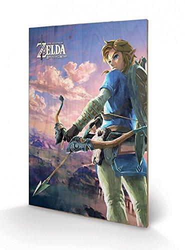 Preisvergleich Produktbild 1art1 The Legend of Zelda - Breath of The Wild,  Hyrule Landschaft Poster Auf Holz 60 x 40 cm