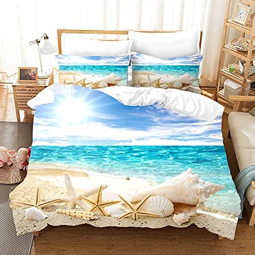 LXTOPN - Juego de cama 3D paisaje de playa, funda de edredón y funda de almohada, impresión digital 3D, multicolor, juego de cama de 3 piezas (2,135 x 200 cm)