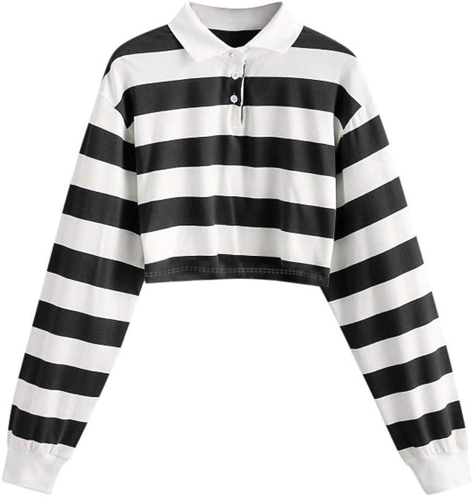 SALIFUN Women Crop Tops, Casual Long Sleeve Striped T Shirt Drop Shoulder Fashion Collared Pullover Blouse