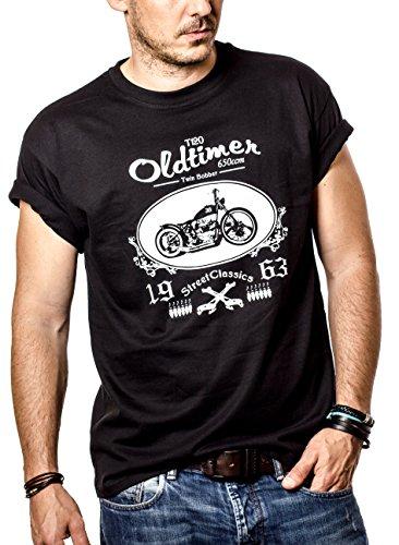 Camisetas con Dibujos de Motos - Bonneville Hombre Negra L