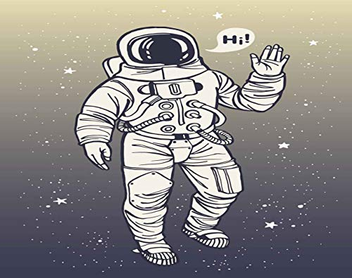 Trikptey Astronaut Space 5D DIY Diamond Painting Kits Astronaut Spacesuit Raises Salute Speech Bubble Full Drill Painting Cross Stitch Arts Set Craft Canvas for Home Wall Decor 12'x16'