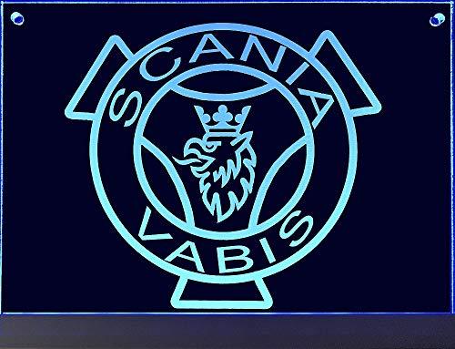 Scania LED-Leuchtschild mit Vabis-Greif, 20x15 cm ✓ Ideale Geschenkidee ✓ Lasergraviert | Edles LED-Schild als Truck-Accessoire | Beleuchtetes Scania Logo-Schild für den 24Volt-Anschluss |