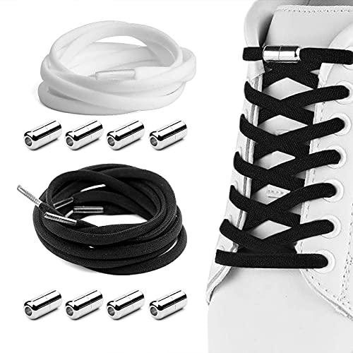 Fishing Fun 2 par premium elastiska skosnören, skoband med metallkapslar utan bindning, lata skosnören utan band för löpare, barn, äldre människor 105 cm längd (vit och svart)