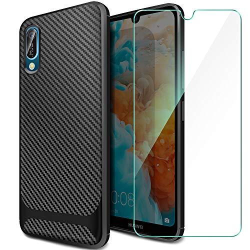 Huawei Y6 2019/Huawei Y6 Pro 2019 Hülle + Panzerglas Displayschutzfolie, Schutzhülle Silikon Schwarz Case Soft TPU Handyhülle Carbon Fiber Cover für Huawei Y6 2019/Huawei Y6 Pro 2019