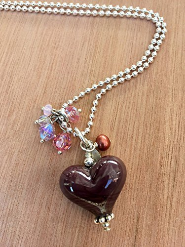Purple Cheap mail order sales Heart Pendant. Eggplant N Complete Free Shipping Necklace. Sterling Silver