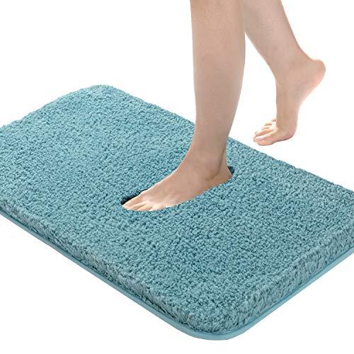 Bathroom Rug Non Slip Bath Mat for Bathroom, 20'x32', Water Absorbent Soft Microfiber Shaggy Bathroom Mat Machine Washable Bath Rug for Bathroom Thick Plush Rugs for Shower, Light Blue