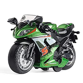 Toy Motorcycle - Pull Back Toy Car with Sound and Light Toy,Toy Motorcycles for Boys,Toys for 3-9 Year Old Boys  Green