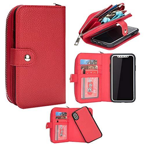 iPhone XS携帯ケース 財布付き 分離可能 iPhone X手帳型 多機能財布型アイフォンXスマホカバー高級感 スタンド機能 アイフォンXsケース 手帳型マグネット式吸着 おしゃれ プレゼントに最適 (iPhone XS/iPhone X, レッド)