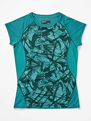 Marmot Wm's Crystal SS T-Shirt Manche Courte, Chemise de randonnée, Idéal pour Le Sport, la Gym, séchage Rapide, Respirant Femme Deep Jungle Race Line FR: S (Taille Fabricant: S)