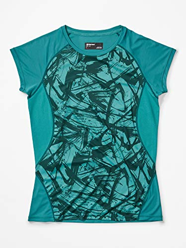 Marmot Wm's Crystal Short Sleeve Camiseta Exterior De Manga Corta, Camiseta, Sudadera Deportiva, con Protección UV, Transpirable, Mujer, Deep Jungle Race Line, S