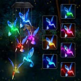 Solar Blue LED Hummingbird Wind Chime, Automatic Light Changing Color Mobile Hanging Wind Chime for Patio Yard Home Garden Night Decoration