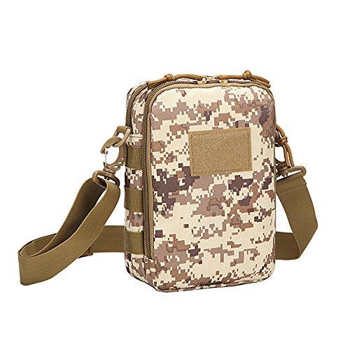 Ruifu Sac à bandoulière tactique Sac à dos Sac à bandoulière Sac de poitrine Assault Pack Messenger Sac (Camouflage désert)