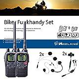 Midland G9 Pro Bikerset, C923.S1, 2 x Funkgeräte mit Headsets für Motorrad-Helme, wasserdichte...