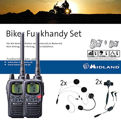Midland G9 Pro Bikerset, C923.S1, 2 x Funkgeräte mit Headsets für Motorrad-Helme, wasserdichte Walkie Talkies mit Notfallknopf, sehr hohe Sendeleistung