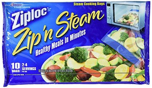 Ziploc Zip'n Steam Cooking Bags, Medium-10 Ct