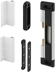 Prime-Line High Security Deadbolt Lock for Sliding Patio Doors, Dual Steel Bolts Provide Superior Protection Against Forced Entry, Doubles as Child-Safety Lock, White/Black (U 11037)