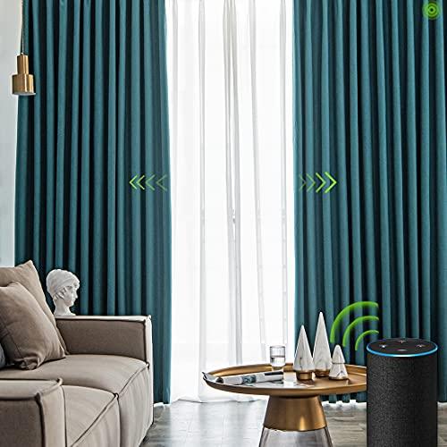 Yoolax Cortinas Opacas motorizadas con Mando a Distancia, Personalizado, Compatible con Alexa y Google Assistant, Cortinas Inteligente para Puertas de corredera de Dormitorio, Sala de Estar (Azul)