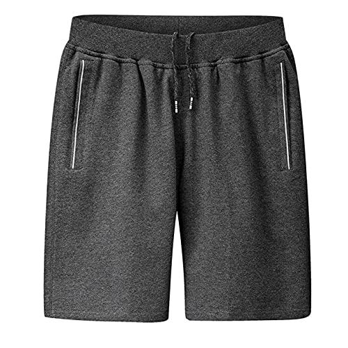 BIBOKAOKE Korte broek heren bermuda shorts met zakken en trekkoord ademend sport shorts zomer losse casual fitness sportbroek joggen training sweatshorts voor mannen thuis vrije tijd, grijs 19, 3XL
