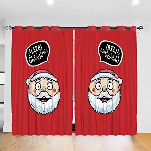 MrRui Super Zachte Ronde Gezicht Kerstman verduistering Gordijn Raam Behandeling Drapes 2 panelen voor Slaapkamer, Woonkamer, Kids Kwekerij Kamer 72x52 inch