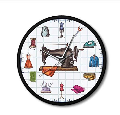 hutianyu Quilting Time Seamstress Crafting Room Wall Art Klok Horloge Naaien Accessoires Naaimachine Metalen Frame Wandklok Gift Voor Haar 30X30Cm