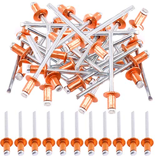 Hilitchi Dome Head Red Copper Blind Rivets Self-Plugging Open End Dome Head Decorating Fastener Nails Pop Rivets Core(4x8mm-50PCS)