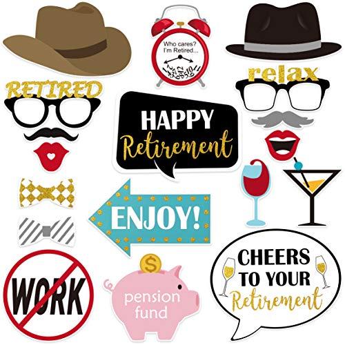 Amosfun Selfie-Requisiten für den Ruhestand, Party, Fotoautomat, lustig, für Feste, 18 Stück