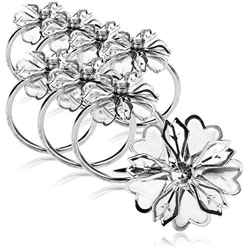 com-four® 8X Serviettenring mit Blumenmotiv - Tischdekoration für Jubiläum, Weihnachten, Geburtstage und Hochzeiten (08 Stück - silberfarben)