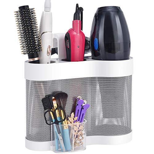 Kingrack Hårtorkshållare, rostfritt stål stylingdocka, väggmontering hårstation, förvaring av hårverktyg med värmebeständig silikon, plattång organiserare, hårfön förvaring, hårtork förvaring