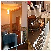ベビーゲート フェンス ドア付き 金属アジャスタブル赤ちゃんペットの安全ゲート階段ゲート自動近い圧力では、マウント拡張スタンド78センチメートル幅が58から274に選択することができ、背の高いです (Color : White H78cm Width, Size : 185-194cm)