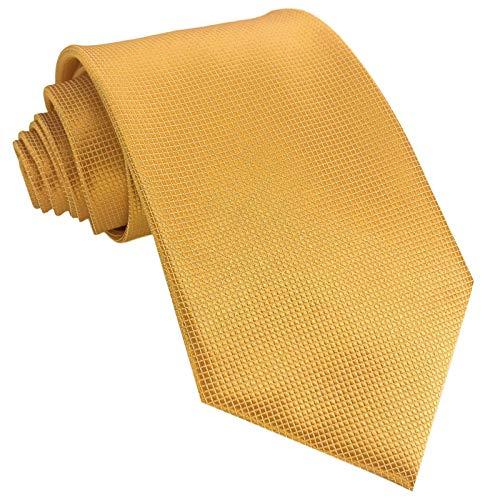 GASSANI Krawatte 10cm Breite Gelb Karo Kariert   Gelbe Herrenkrawatte zum Sakko Anzug Seide-Optik   Schlips Binder einfarbig