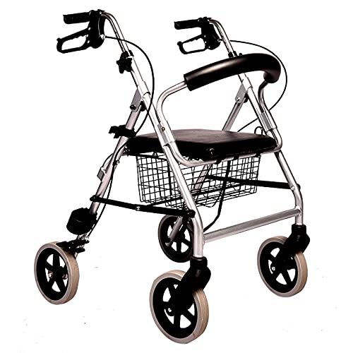 WOIQ Andador para Ancianos, Andador Plegable, Andadores para Ancianos, Andadores Adultos 4 Ruedas, Andador para Ancianos con Asiento, Andador con Frenos por presión,