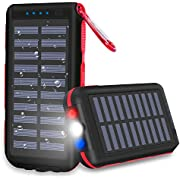 Power Bank Portable Phone Charger Solar Charge 25000mAh Huge Capacity Water-Resistant 3 Output Ports Battery Pack LED Flashlight & SOS Warning Lamp for Outdoor Activities, Smartphone, Tablet and more