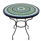 albena Marokko Galerie Marokkanischer Mosaiktisch ø 80cm rund Gartentisch Bistrotisch Terrassentisch Fliesentisch Mediterraner Tisch (Hiawa blau/türkis/Weiss/grün)