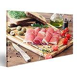 islandburner Bild Bilder auf Leinwand In Scheiben geschnittenen Schinken auf einem Holzbrett Wandbild, Poster, Leinwandbild FAZ