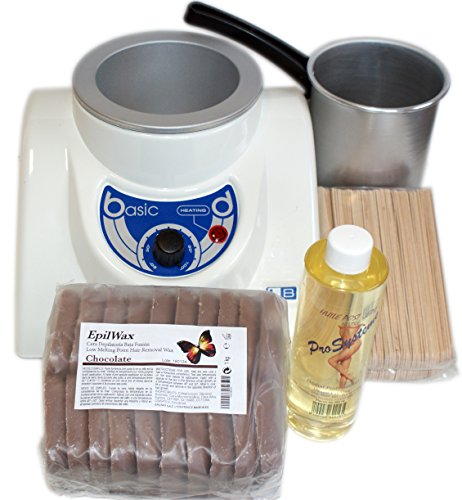 EPILWAX - Kit Epilation Complet à la Cire Chaude Pelable en Perles - Chocolat - 1kg - Cuve 800 ml - 1 Unité
