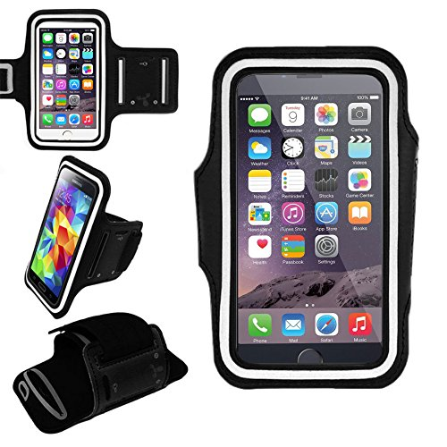 EpicGadget Best Running Armband Case for iPhone Xs Max, XR, 8 Plus, Galaxy S10, S10 Plus, S10 Lite, S9 Plus, Note 9, Pixel 3 XL, LG G7 with Adjustable Elastic Band & Key Holder (Black)