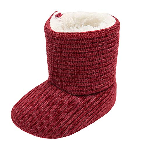 Voberry@ Baby Girls Soft Booties Keep Warm Plush Snow Boots Newborn Infant Toddler Crib Shoes (0~6 Month, Wine)