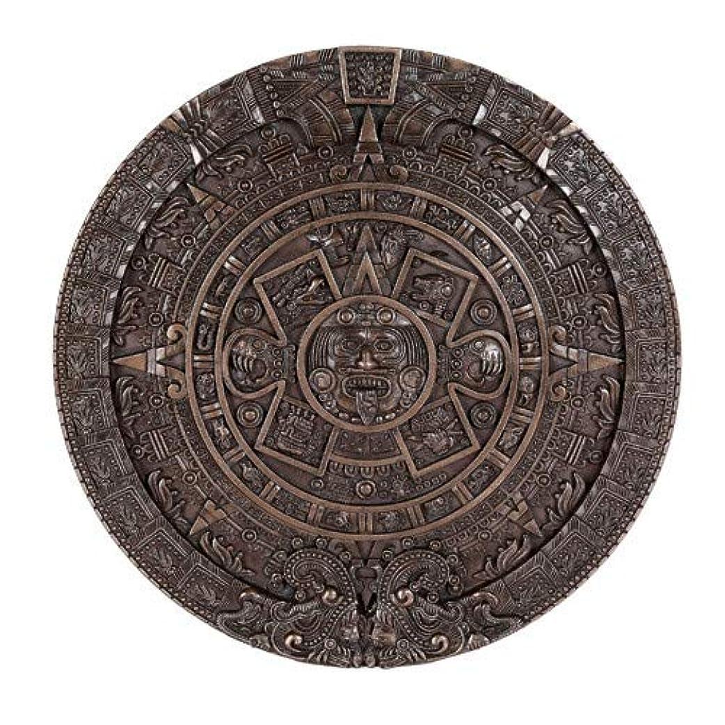 引くメダル浸したマヤ文明 アステカ(暦石)カレンダーブロンズ ウォールプラーク 壁彫刻装飾品 Aztec Calendar Bronze Wall Plaque