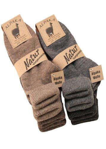 4 Paar Alpaka Socken mit Umschlag für Damen aus Alpaka mit Wolle Gr. 39-42