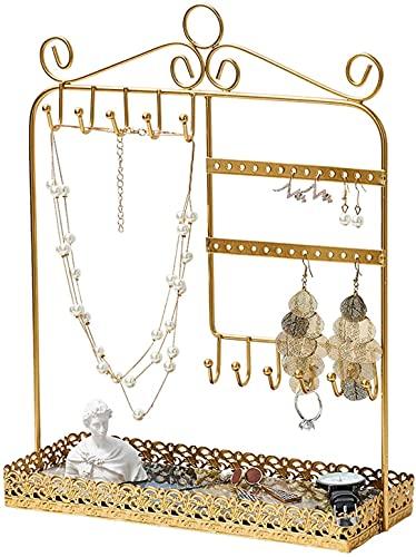 Soporte para Collar de Mesa Soporte de Árbol de Joyería Dorada Organizador de Collar Organizador de Exhibición de Metal Pulsera Pendientes Y Bandeja de Anillo Soporte de Joyería Colgador Soporte de C