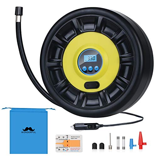 URAQT Auto Luftpumpe, Digital Reifenfüller Inflator Kompressor 12V DC 150PSI mit LCD Bildschirm, LED Leuchten und langem Kabel für Auto, Fahrrad, Luftmatratze