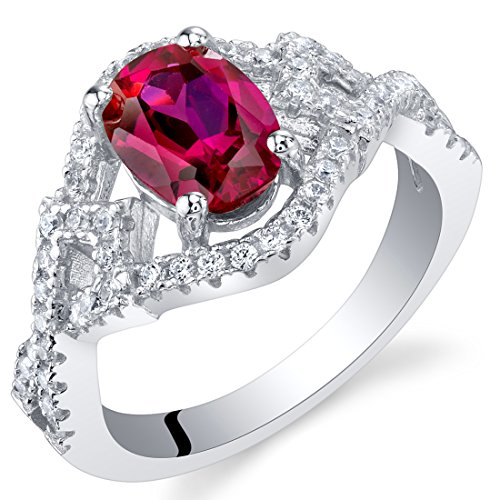 Created Ruby Sterling Silver Lace Ring Size 5