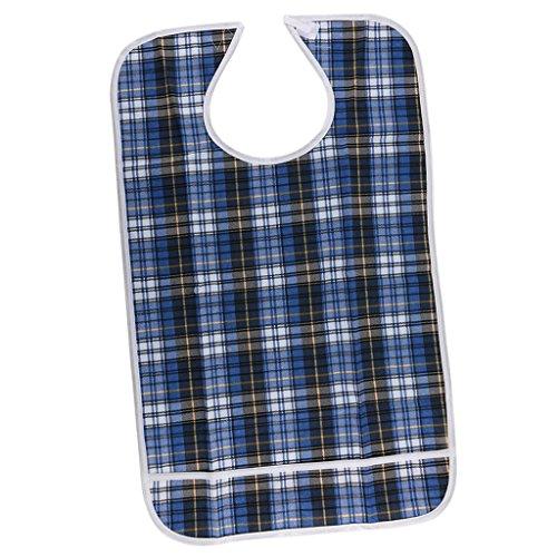 SODIAL Wasserdichte Laetzchen fuer Erwachsene, aeltere, Behinderte, Erwachsene Laetzchen mit Tasche, Klettverschluss, Waschbar, Wiederverwendbar - Blau, 45x75cm