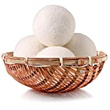 Wool Dryer Balls Organic 4 Pack XL,100% New Zealand Wool Natural Fabric Softener,Chemical Free,Reusable 1000 Loads,Shorten Drying Time & Reduces Wrinkles,Baby Safe & Hypoallergenic (4 Pack, White)